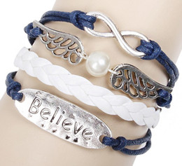 Wholesale Faith Sales - Top Hot sale Faith Jewelry Believe Charm Geniune Leather Bracelet Retro style