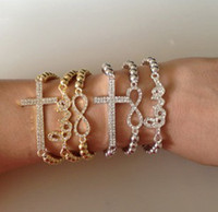 Wholesale Sideways Metal Cross Bracelet - 50PCS CHARM Cross Infinity Bar Beads Sideways Connector Bracelets Metal Beaded Jewelry Bracelets In 10 Style