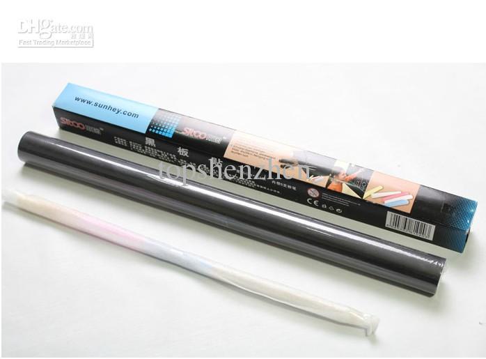 Inicio palillo de la pizarra de la etiqueta engomada de la pared de la pizarra Peel Stick de papel de pared de color Negro Tamaño: 45x200cm por el envío libre de DHL