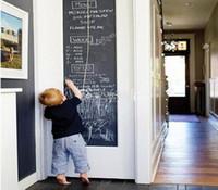 мелкая черная бумага оптовых-45x200cm классная доска стены наклейки доска черный мел доска стикер мини портативный наклейка Peel Stick на обои для детей Дети