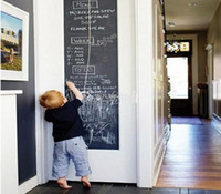 Wholesale Paper Wall Growth Chart - Home Stick Blackboard Wall Sticker Chalkboard Decal Peel & Stick on wall paper Black color(Size:45x200cm)in stock DHL Free Shipping