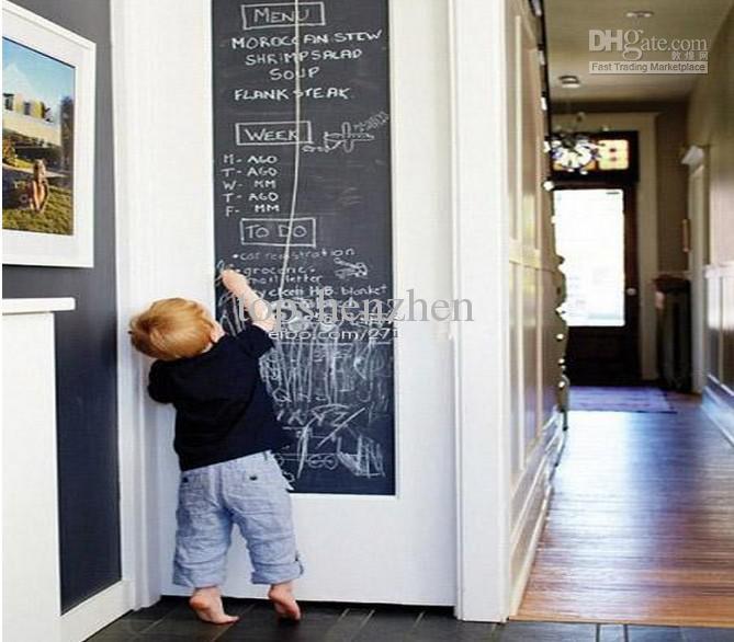 45x200 سنتيمتر السبورة ملصقات الحائط السبورة السوداء الطباشير مجلس ملصق البسيطة المحمولة صائق قشر عصا على ورق الحائط للأطفال الأطفال