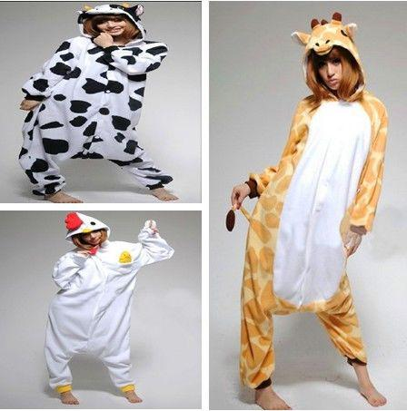 d96836659a Anime Kigurumi Pajamas Cosplay Costume unisex Onesie  Dress COW Giraffe Chick!
