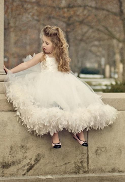 2019 New Arrival Cheap Hot Custom Made Ball Gown Spaghetti Ivory Tulle Appliques Bow Feather Ankle-Length Flower Girl Dresses