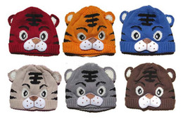 Wholesale Crochet Baby Tiger - Free Shipping 1Pc Baby Girls Boys Kids Toddlers Children Infants Crochet Knit Tiger Animal Cartoon Hat Cap Tail Photo Prop