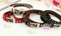 Wholesale Movies Beautiful Women - Wholesale - Beautiful New Fashion Cross Buckle Waistband PU Leather Thin Belt 4colors
