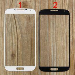 Reemplazos de pantalla táctil s4 online-S4 i9500 Pantalla de lente de cristal frontal exterior Pieza de reemplazo Digitalizador Cubierta de pantalla táctil para Samsung Galaxy S4 i9500 i9505 i337 Negro Blanco