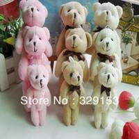 oyuncak ayı bağlar toptan satış-Ücretsiz kargo H-8cm güzel Mini Papyon Dolması Eklemli Teddy Bear Hediye Çiçek Ambalaj Teddy Bear 3 renk karışımı 48 adet / grup