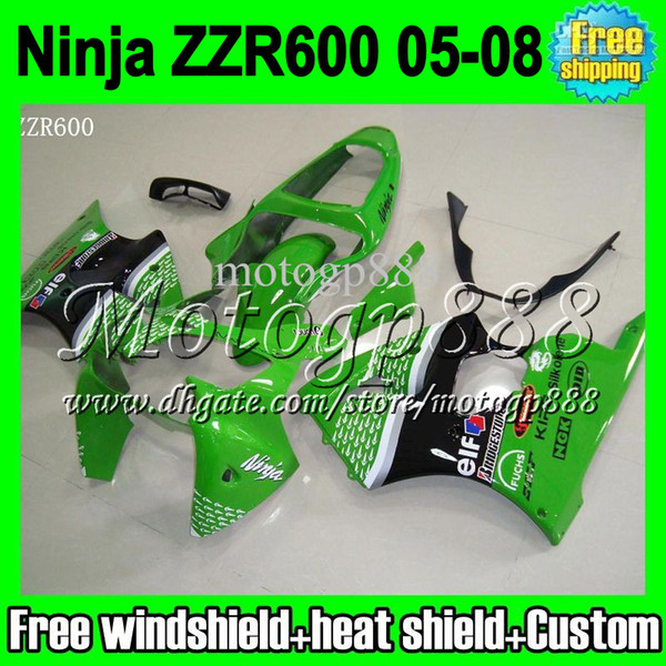 2gifts Custom HOT For ZZR 600 KAWASAKI NINJA ZZR-600 05 06 07 08 - green black white ZZR600 C#1305 6R 2005 2006 2007 2008 green Fairing