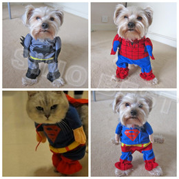 Wholesale Spiderman Jackets - Free Shipping Discount Halloween Pet Batman Superman Spiderman Costumes Christmas Gifts Clothing Clothes For Dogs Cats Large Apparel