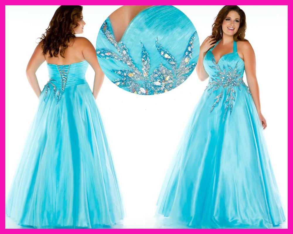 2016 Crystal Plus Size Evening Gowns Sky Blue Beaded Halter Lace Up Back Long Prom Dress for Women E4352
