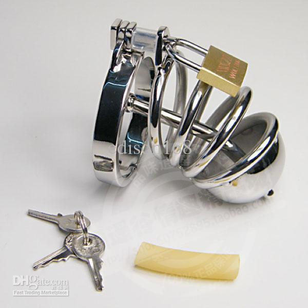 Senaste Design Medium Male Rostfritt Stål Kuk Penis Bur Ring med Kateter Kasthetsbälte Enhet BDSM Sexleksaker 924