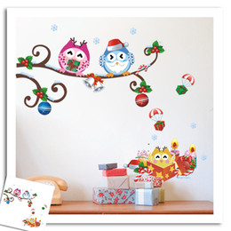 Wholesale removable christmas wall stickers - christmas wall stickers Owls on the Tree Branches, Cartoon Wall Decor Stickers and Christmas Gifts Wall Decals