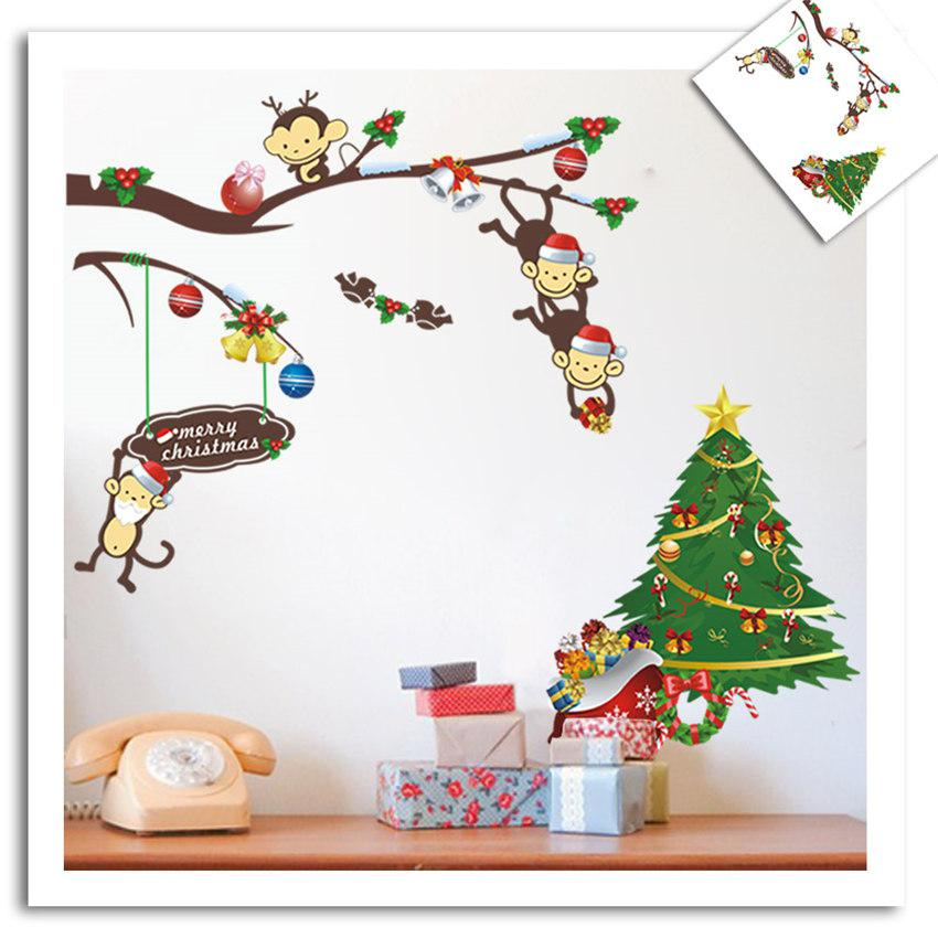 Christmas Monkeys Deliver Gifts To Children Cartoon Wall Decor - Christmas wall decals removable