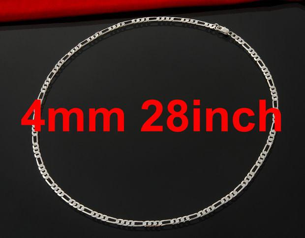 925 Silver Necklace 4mm 3:1 16inch~30inch Men's Figaro Chains Fashion Mixed Size XMAS Gift