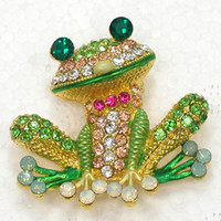 Wholesale C2159 colorful Crystal Rhinestone Golden Frog Broo...