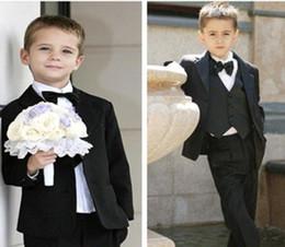 Wholesale Black Pinstripe Dress Pants - Solid black boys Wedding suits Formal Party Tuxedo suit Groom Jacket+Pants+bow tie necktie+vest+shirt Dress Suit 5 pcs set 5sets lot #3465