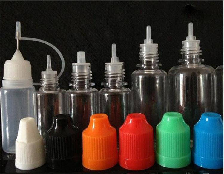 DHL Gratis Ship Färgglada flaskor 300st 5ml 10ml Genomskinlig nålspetsflaska Ny LDPE Drop-flaska med barnsäker keps Förvara mest vätska