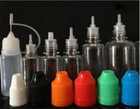 botellas de vapor ml al por mayor-Botella de aguja de colores 300 piezas 5 ml 10 ml 15 ml 20 ml botellas de gota de PET translúcidas con tapa a prueba de niños tienda más líquido E Cig de vapor líquido