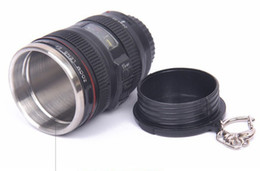 Camera drink online shopping - New Mini lens cup spirit mug stainless steel liner travel thermal camera lens mug cup Drinking mug cup DHL