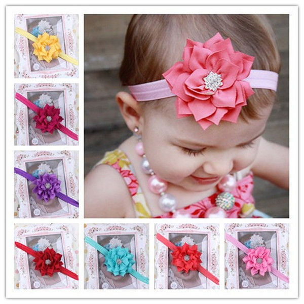 Baby Flower Headbands Girl Elastic Headbands With Rhinestone Handmade Children Hair Accessories CZ Diamond Hairbands Kids Hair Ornaments