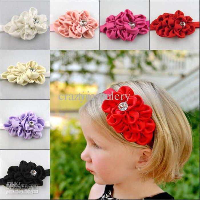 Baby Flower Headbands Girl Elastic Headband Children Hair Accessories Flower Hairbands With Acrylic Diamond Hair Ornaments Photography Props