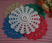 Wholesale free doily patterns - EMS Free Shipping Wholesale 350Piece 20CM Handmade Crochet pattern doily Cotton 100% cup Pad mats table cloth coasters round 3D