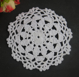 Handmade Crochet Pattern Placemats Doily Cup Pad Mats Tablecloth Coasters  Round Dial 13cm, EMS Free Shipping Wholesale 650 Piece