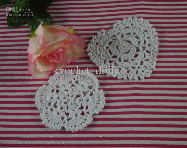 Handmade Crochet Placemats doily Cup Lace Pad mats 2 Style coasters 10-12cm, EMS Wholesale