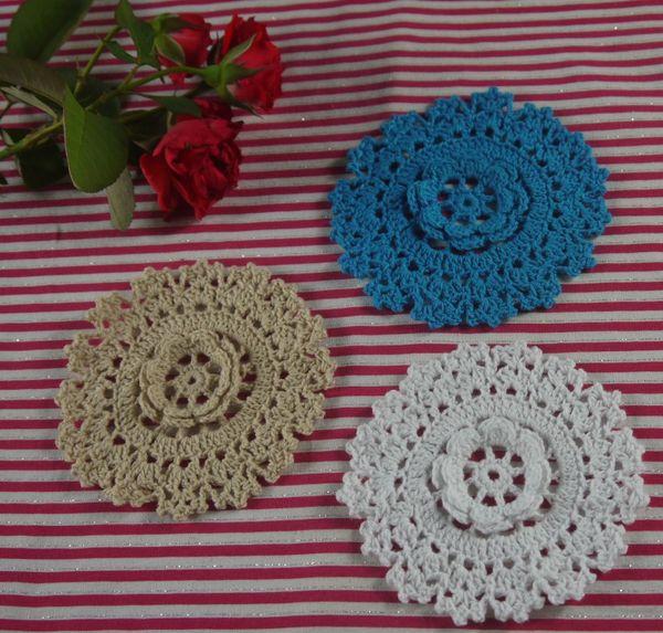 handmade crocheted doilies Vintage White DIY flower, lace crochet doily cup mat vase mat coaster 11cm/4.4