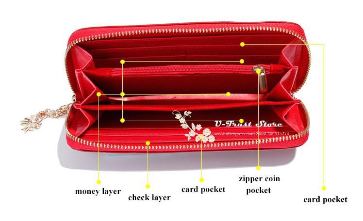 Estilo nuevo de la manera el mejor cuero genuino Zip Alrededor de patrón de flor de la señora de las mujeres de largo carpeta de color del bolso 5