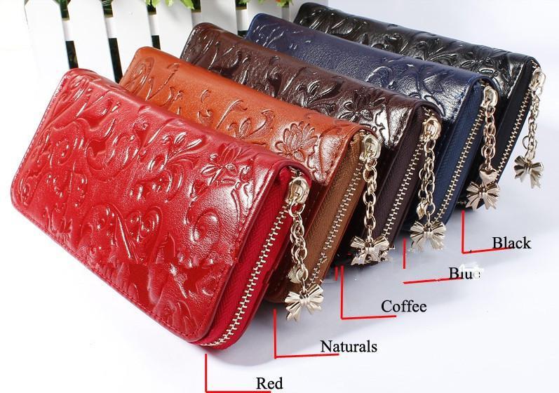 Ny mode stil det bästa äkta läder zip runt blommönster dam kvinnor lång plånbok handväska handväska 5 färg