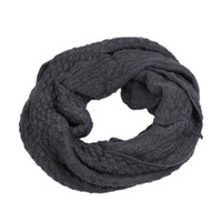 Wholesale Gray Plaid Scarf - Deep Gray Women Lady Knitted Crochet Long Infinity Snood Cotton Circle Scarf Shawl Wraps Neck Winter Warm Neckerchief Scarves DKE4*1