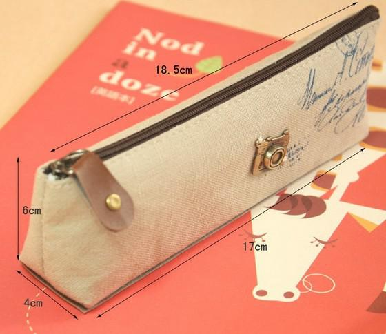 Cámara Bolsa Torre Eiffel bolso cosmético caja de lápices de lino dulce encantador de estudiantes mujeres Grils