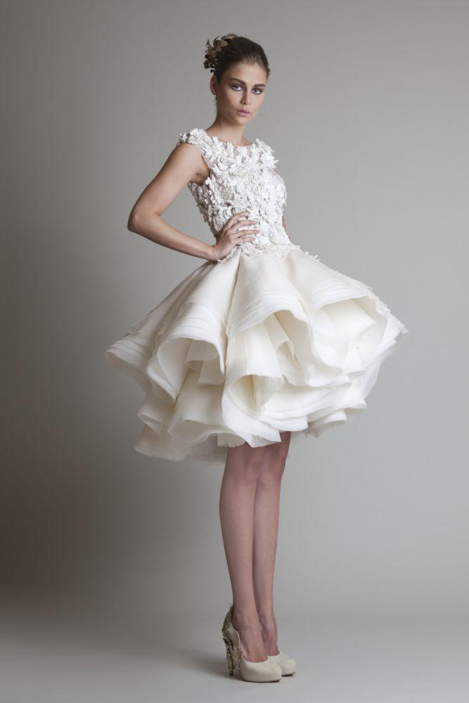 Krikor Jabotian Organza Ruffle Short Casual Wedding Dresses 2014 Bateau  Beach Modest Bridal Gown
