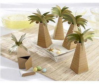 Wholesale Beach Theme Birthday Party - 100 Palm Tree Beach Theme Boxes Candy Gift Box New Wedding Favor