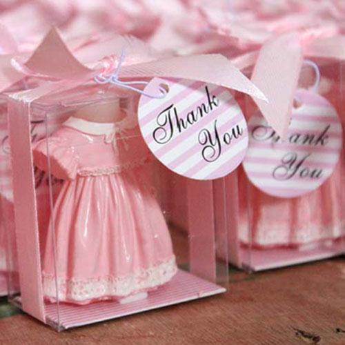 12 Pink Skirt Shirt Baby Candle Shower Favor Gift Favors Birthday Party or Blue color