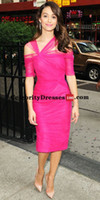 Wholesale Emmy Celebrity Dresses - Emmy Rossum Knee Length Celebrity Red Carpet Dresses 2016 Cheap Fuchsia Tulle Formal Evening Gowns Prom Party Dresses under 100