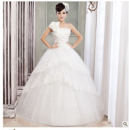 Wholesale Korean Fashion Wedding Gowns - Hot new flower Bridal gown wedding dress, evening long dress Sweet retro wedding Korean Princess Bra straps white 815