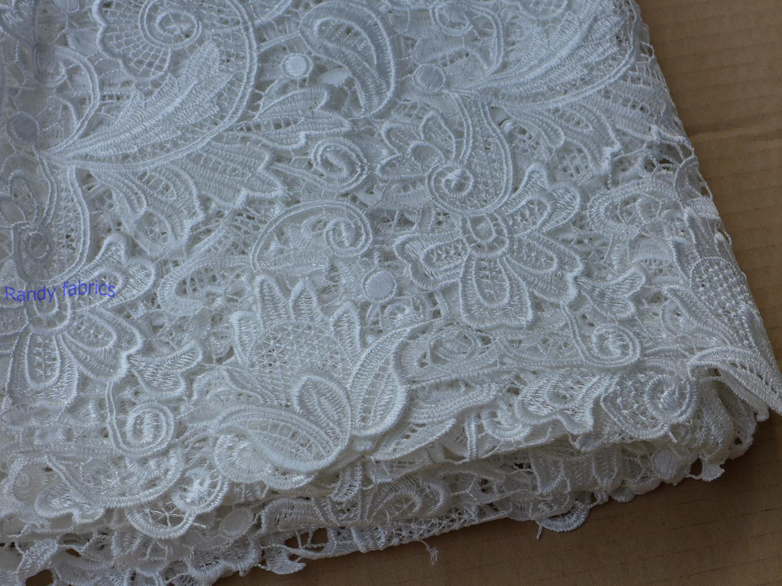 2018 100cm Wide White Wedding Dress Lace Fabrics Hollow Embroidery ...