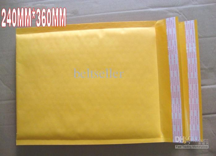 240MM*360MM 9.5inch*14.2inch Yellow color Kraft Bubble Mailers Padded Envelopes Bags