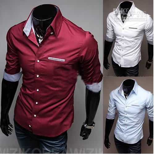 Wine colored mens dress shirts