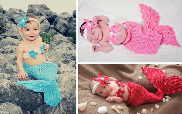 Free Shipping 3pcs Infant Girl Newborn Baby Girl Knit Crochet Mermaid Headband+Top+Tail Pearl Photo Prop Outfit Costume Cartoon