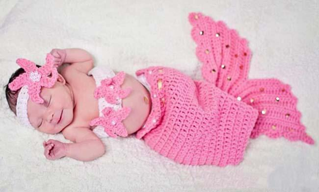 Infant Girl Newborn Baby Girl Knit Crochet Mermaid Headband+Top+Tail Pearl Photo Prop Outfit Costume Cartoon