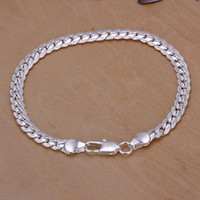 Wholesale Rubies Bangle Bracelets - Men's 5mm 20cm 925 sterling silver chains bracelets bangles H199