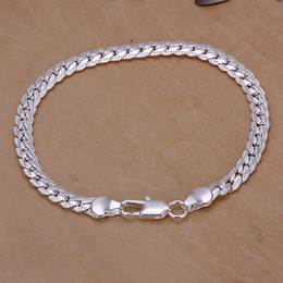 Wholesale Silver Snake Chain 5mm - Men's 5mm 20cm 925 sterling silver chains bracelets bangles H199