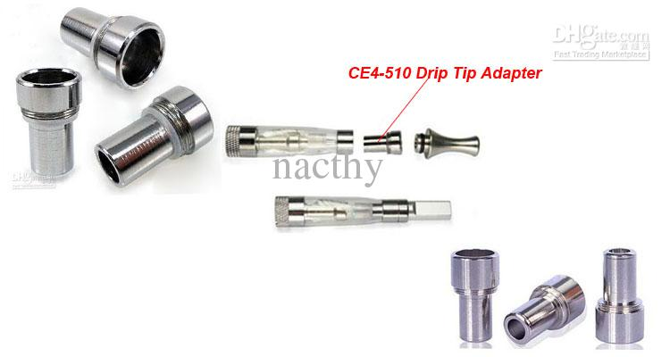 CE4-510 Drip Tip Adaptor eGo Clearomizer Cartommizer Drip Tip Stainless Steel Metal Drip Tip Adapter Connector for CE4 CE5 Series Tank