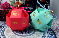 Wholesale Wedding Favor Bell Box - Free Shipping Ball Desgin With Small Bell Wedding Box Favor Candy Boxes 100Pcs Lot