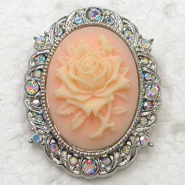 Wholesale Aurora Borealis Flower Pin - Wholesale Aurora Borealis Crystal Rhinestone Roses Flower Cameo Brooch Pin Fashion jewelry gift C2007 F