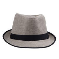 Wholesale dress trendy tops - Trendy Women Men Straw Panama Fedora Caps Solid Dress Hats Stylish Spring Summer Beach Sun Hat DHV4*10